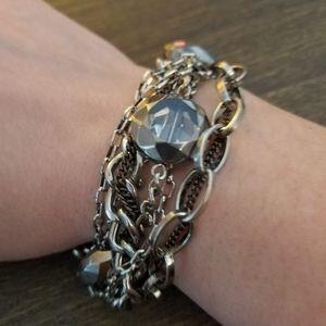 Silver black mixed metals jewels bracelet